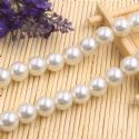 Beads, Glass Imitation pearls, Glass, Cream colour , Round shape, Diameter 12mm, 7 Beads, [FZZ0059]